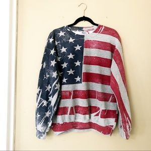 U.S.A Distressed Flag Pullover Sweater